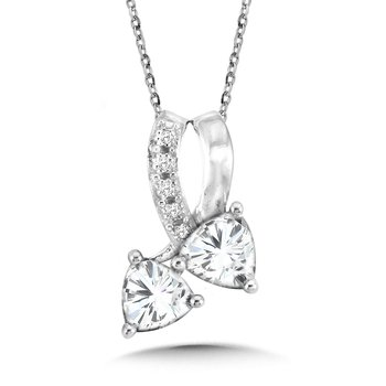 Trillion-Cut  White Topaz and Diamond Pendant