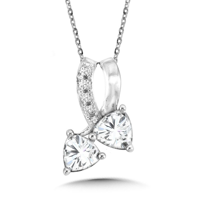 SDC Creations Trillion-Cut  White Topaz and Diamond Pendant