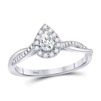 14kt White Gold Womens Pear Diamond Solitaire Twist Bridal Wedding Engagement Ring 1/3 Cttw