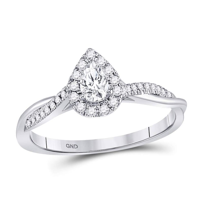 Kingdom Treasures 14kt White Gold Womens Pear Diamond Solitaire Twist Bridal Wedding Engagement Ring 1/3 Cttw