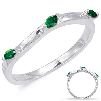 White Gold Emerald Matching Band