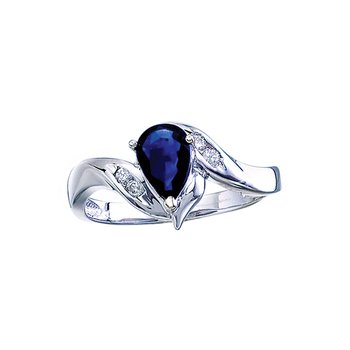 14k White Gold Pear Sapphire And Diamond Swirl Ring
