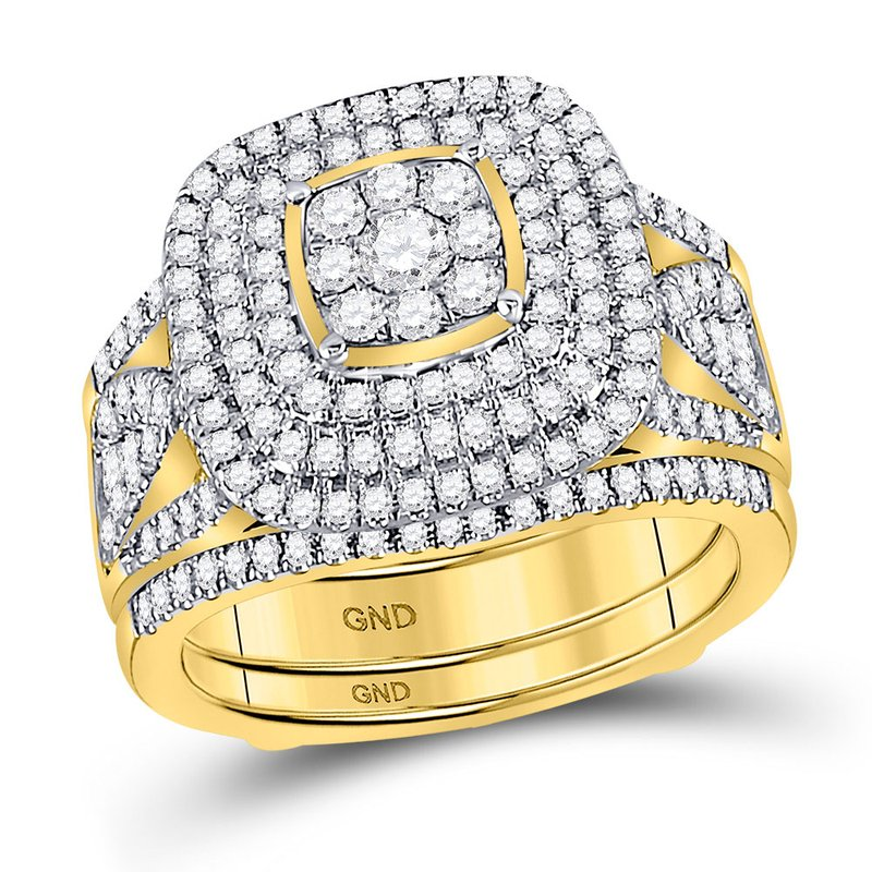 Gold-N-Diamonds, Inc. (Atlanta) 14kt Yellow Gold Womens Round Diamond Cluster Bridal Wedding Engagement Ring Band Set 1-1/2 Cttw