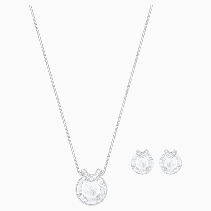 Swarovski Bella V Set, White, Rhodium plated