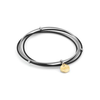 Black and Grey Cable Affirmation Bangle with Diamond FAITH Charm