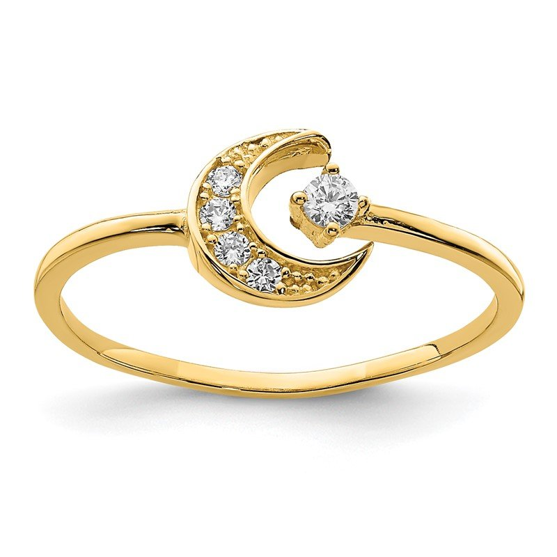 Quality Gold 14K CZ Moon Ring