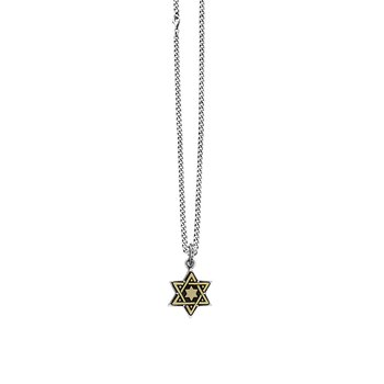 Large Alloy Star Of David In Silver Frame Pendant