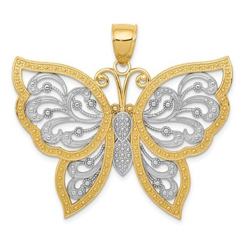 14k w/Rhodium Diamond-cut Butterfly Pendant