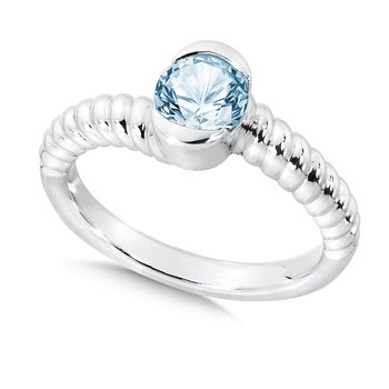 Sterling Silver Aquamarine Colore Of Life Stack Ring