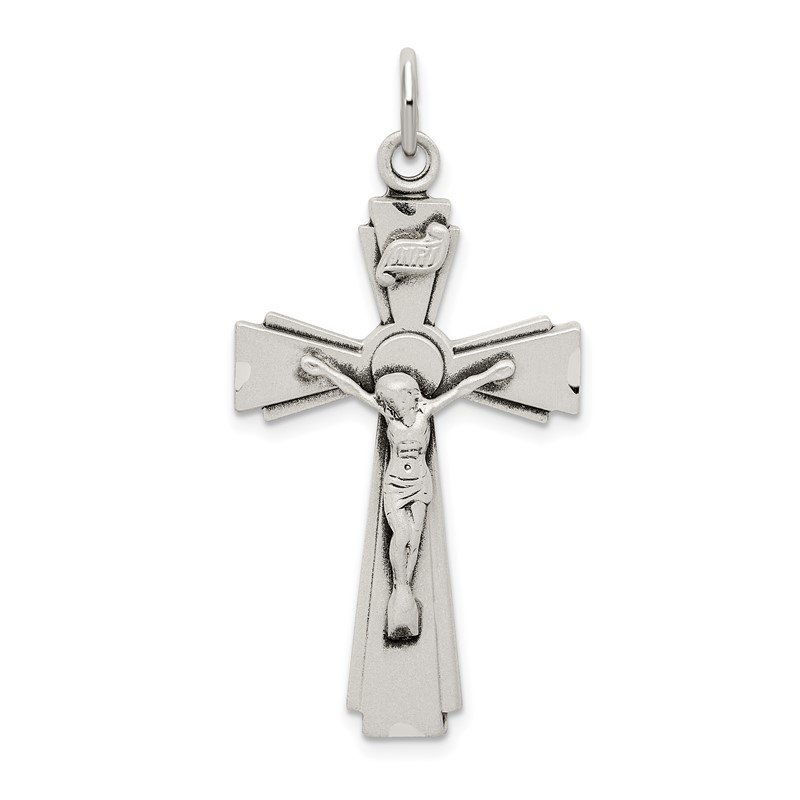 Quality Gold Sterling Silver Satin and D/C INRI Crucifix Pendant