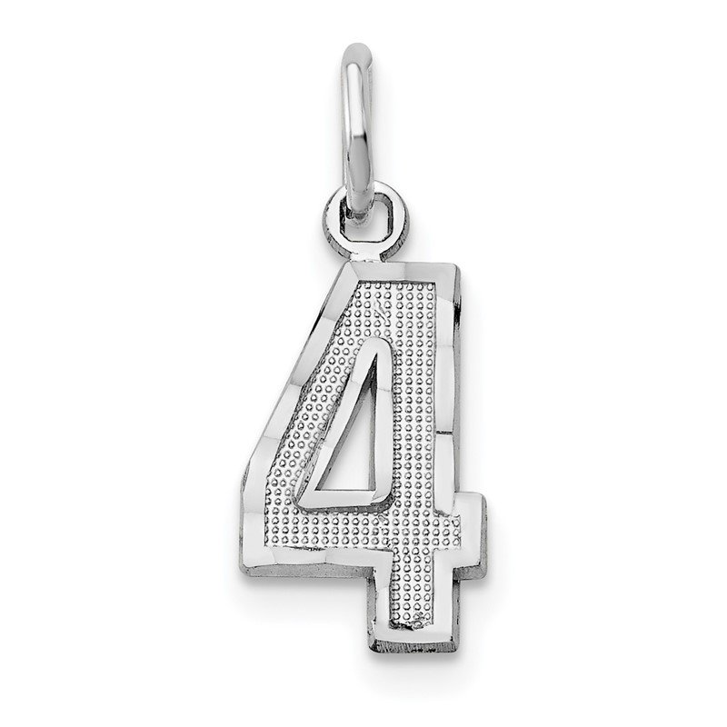 Quality Gold 14kw Casted Small Diamond Cut Number 4 Charm