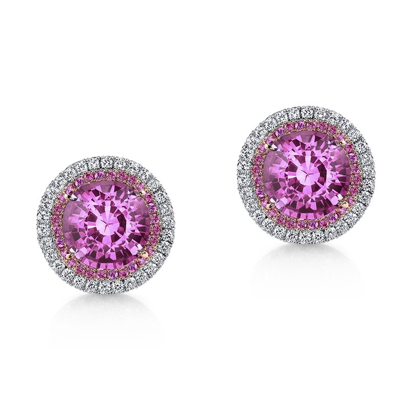 Omi Prive Pink Sapphire & Diamond Stud Earrings