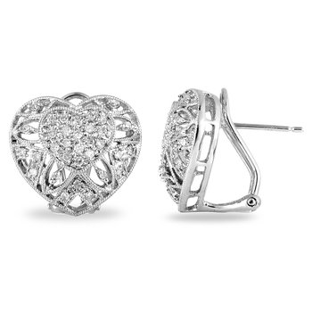 14K WG Diamond Heart Ear-rings
