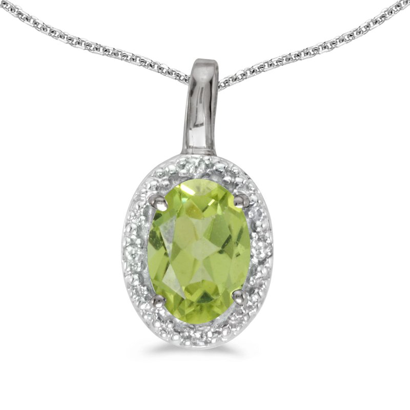 Color Merchants 14k White Gold Oval Peridot And Diamond Pendant