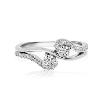 14K White Gold Open Swirl Two-Stone Diamond Ring