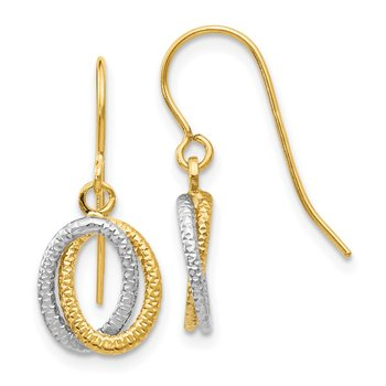 14k Two-tone Textured Fancy Dangle Earrings