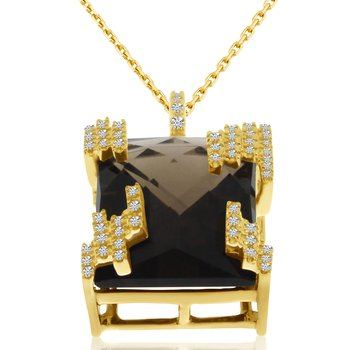 14k Yellow Gold Smokey Topaz and Diamond Pendant