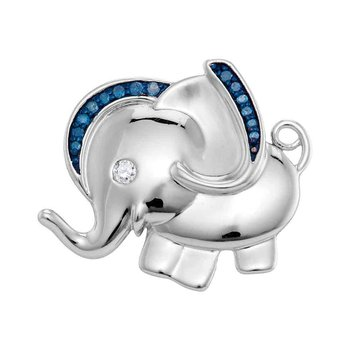 Sterling Silver Womens Blue Color Enhanced Diamond Elephant Charm Pendant 1/10 Cttw