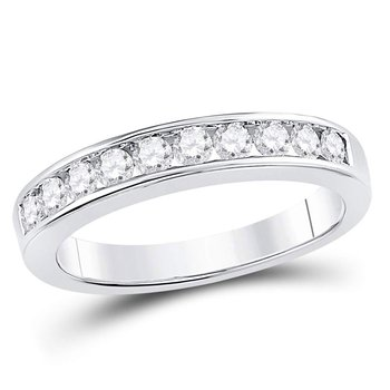 14kt White Gold Womens Round Channel-set Diamond Wedding Band 1/2 Cttw - Size 5