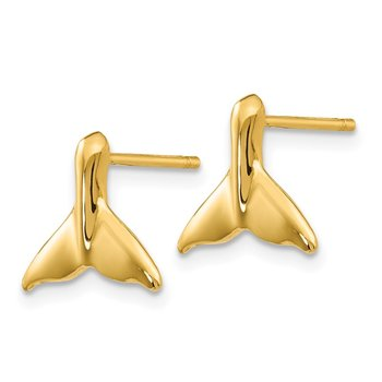 14k Whale Tail Post Earrings