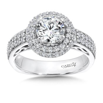 Halo Engagement Ring in 14K White Gold (1ct. tw.)