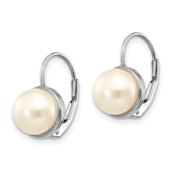 14K White Gold 6-7mm Button Freshwater Cultured Pearl Leverback Earrings