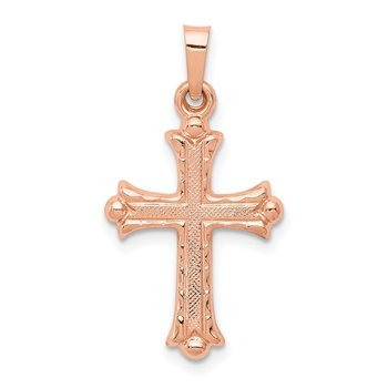 14k Rose Gold Heart Hollow Cross Pendant