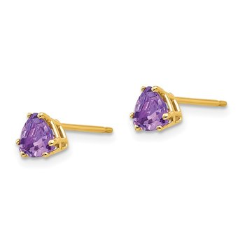 14k 5mm Trillion Amethyst Earrings