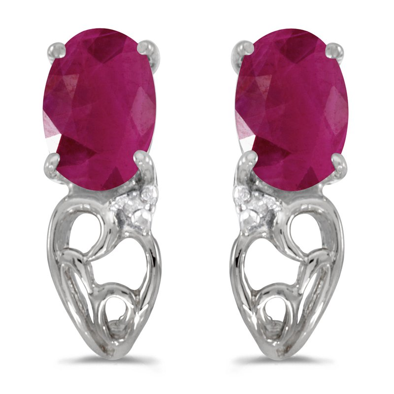 Color Merchants 10k White Gold Oval Ruby And Diamond Earrings