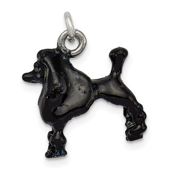 Sterling Silver Enameled Black Poodle Charm