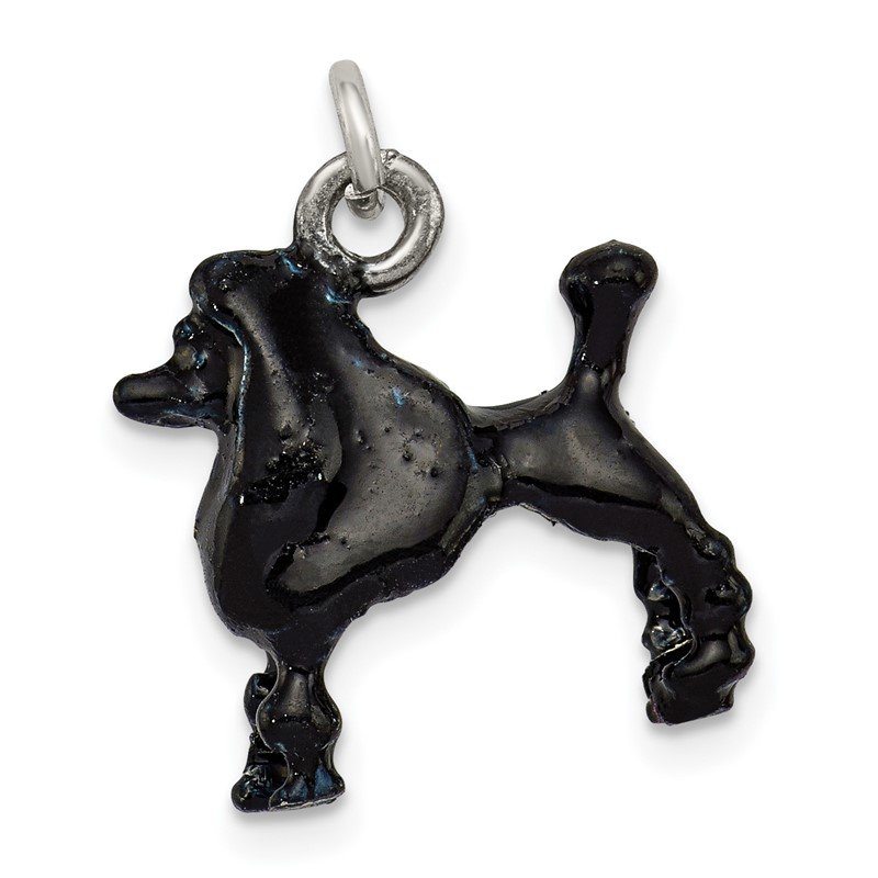 Arizona Diamond Center Collection Sterling Silver Enameled Black Poodle Charm