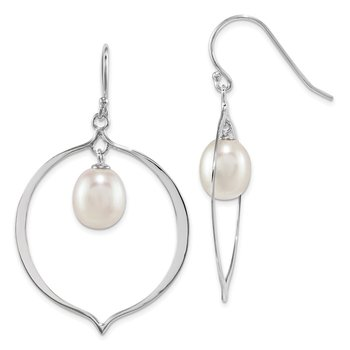Sterling Silver Rhodium- pl 8-9mm White Rice FWC Pearl Dangle Earrings