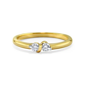 14K Diamond Two Stone Ring