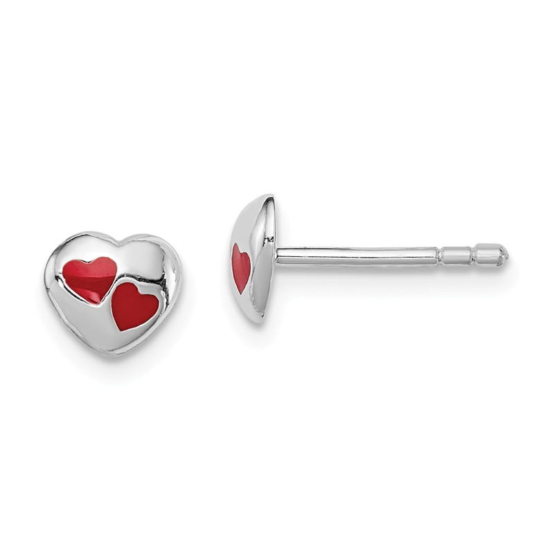 Sterling Silver RH Plated Childs Polished Heart Post Earrings