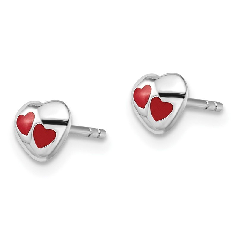 Quality Gold Sterling Silver RH Plated Child's Red Enameled Heart Post Earrings