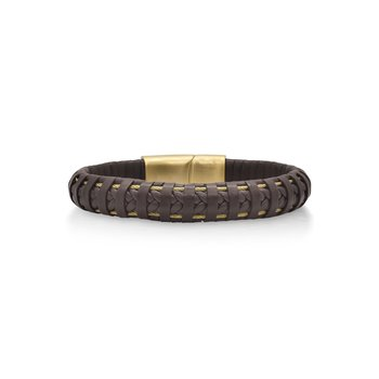 Brown Leather Wrapped Bracelet with Yellow Clasp