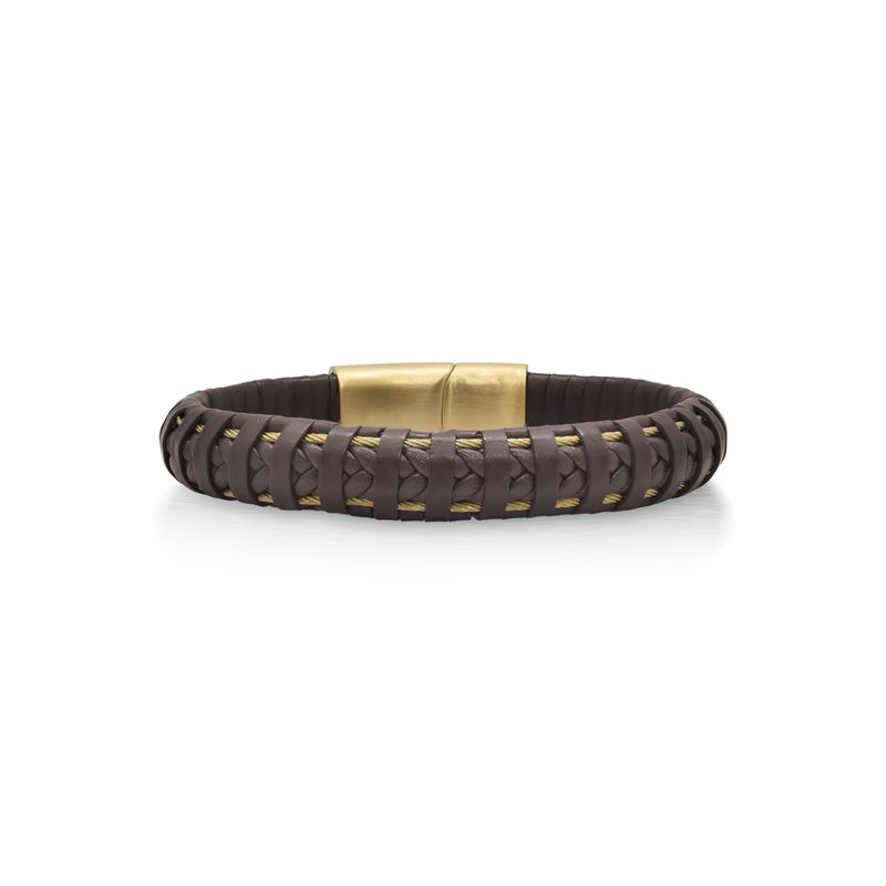ALOR Brown Leather Wrapped Bracelet with Yellow Clasp