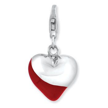 Sterling Silver Rhodium-plated 3-D Enameled Heart w/Lobster Clasp Charm