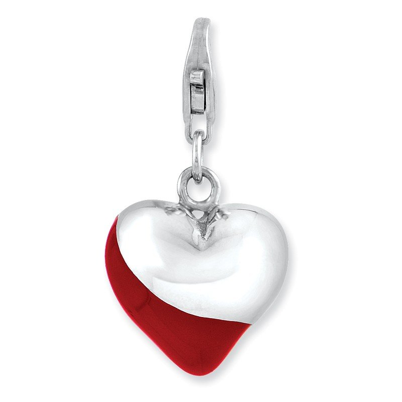 Quality Gold Sterling Silver Rhodium-plated 3-D Enameled Heart w/Lobster Clasp Charm