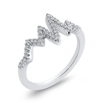 10K White Gold 1/5 ct Round White Diamond Fashion Ring