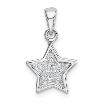 Sterling Silver Rhodium-plated Glitter Enamel Fabric Star Pendant