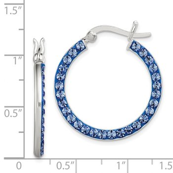Sterling Silver Stellux Crystal Royal Blue Hoop Earrings