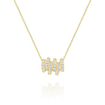 Diamond Scattered Line Pendant Set in 14 Kt. Gold