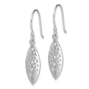 Sterling Silver Rhodium-plated Filigree Dangle Earrings