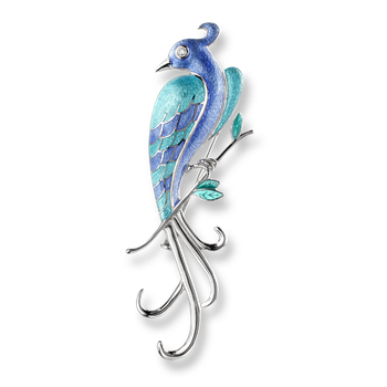 Sterling Silver Lyre Bird Brooch -Blue. Diamonds.