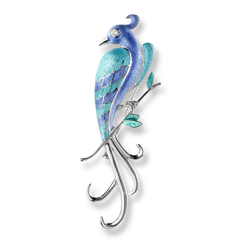 Nicole Barr Designs Sterling Silver Lyre Bird Brooch -Blue. Diamonds.