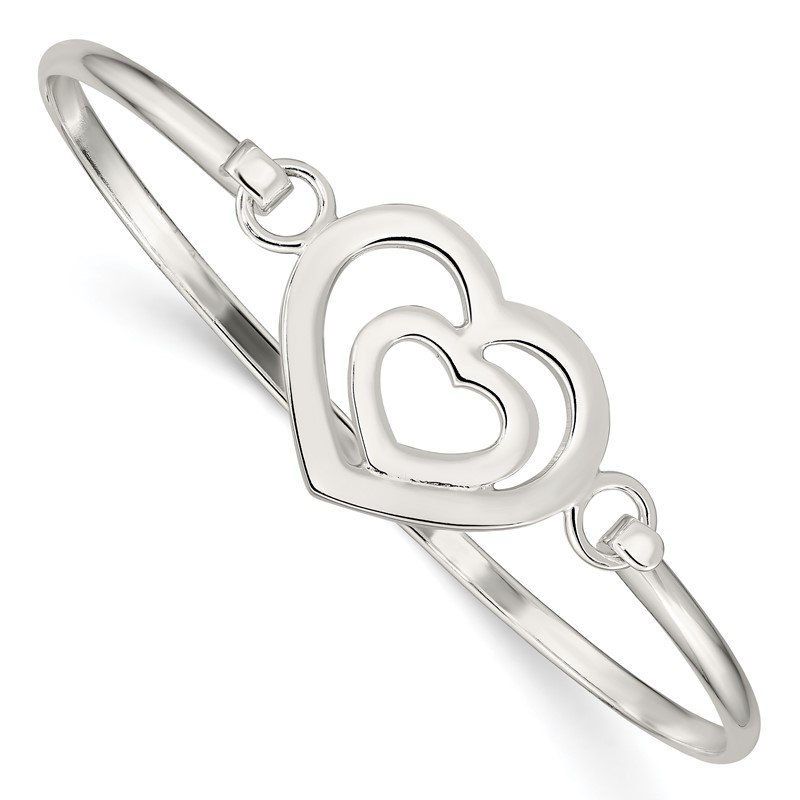 Quality Gold Sterling Silver Heart within a Heart Bangle Bracelet
