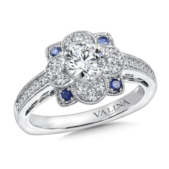 Diamond & Blue Sapphire Halo Engagement Ring Mounting in 14K White Gold (1/4 ct. tw.)