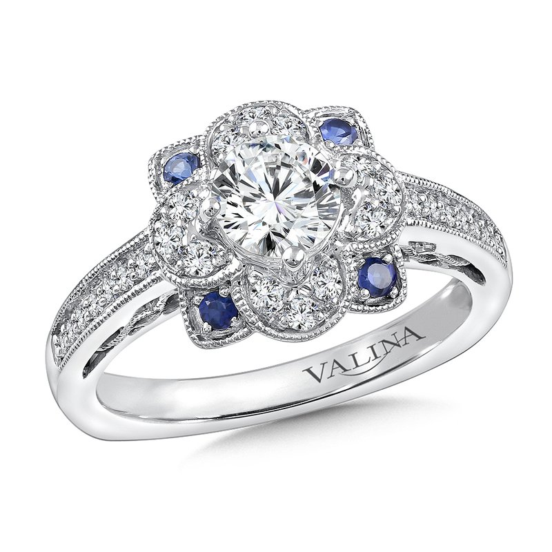 Valina Diamond & Blue Sapphire Halo Engagement Ring Mounting in 14K White Gold (1/4 ct. tw.)
