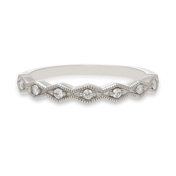 Geometric white gold & diamond stackable band